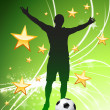Soccer Player on Green Abstract Light Background - Stock Vector