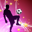 Soccer Player on Abstract Light Background - Stock Vector