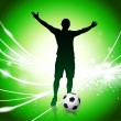Stock Vector: Soccer Player on Abstract Green Light Background
