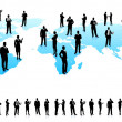 Royalty-Free Stock Vectorielle: Business Silhouette on world map background