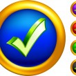 Check mark icon on  buttons with golden borders - Векторная иллюстрация