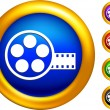 Video film canister icon on  buttons with golden borders — Stock Vector