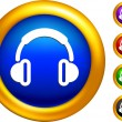 Royalty-Free Stock Vector Image: Headphones icon on  buttons with golden borders