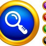 ikona lupy na przyciski z granic złoty — Wektor stockowy  #6508825