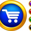 Shopping cart icon on  buttons with golden borders — Stock Vector