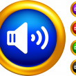 Sound speaker icon on buttons with golden borders — Stock Vector