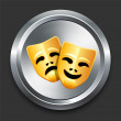 Постер, плакат: Comedy and Tragedy Masks Icon on Metal Internet Button