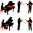 Live Band Musicians Silhouette Collection - Stockvectorbeeld