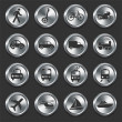 Transportation Icons on Metal Internet Buttons — Stock Vector