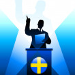 Royalty-Free Stock Vector Image: Sweden Leader Giving Speech on Stage