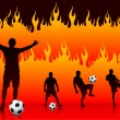 Stock Vector: Soccer(Football Player) on Hell Fire Background