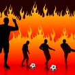 Soccer(Football Player) on Hell Fire Background — Stock Vector #6509402