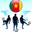 Постер, плакат: Cameroon Flag Icon on Internet Button with Soccer Team