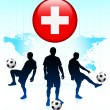 Switzerland Flag Icon on Internet Button with Soccer Team — Stock Vector