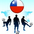 Chile Flag Icon on Internet Button with Soccer Team — Stock Vector