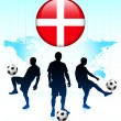 Stock Vector: Denmark Flag Icon on Internet Button with Soccer Team