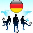 Germany Flag Icon on Internet Button with Soccer Team - Stock Vector