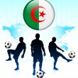 Algeria Flag Icon on Internet Button with Soccer Team — Stock Vector