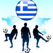 Greece Flag Icon on Internet Button with Soccer Team — Stock Vector