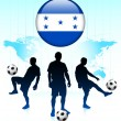 Honduras Flag Icon on Internet Button with Soccer Team — Stock Vector