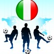 Italy Flag Icon on Internet Button with Soccer Team — Stock Vector