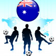 Australia Flag Icon on Internet Button with Soccer Team - Stock Vector