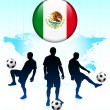 Stock Vector: Mexico Flag Icon on Internet Button with Soccer Team