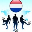 Netherlands Flag Icon on Internet Button with Soccer Team — Stock Vector