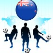 New Zealand Flag Icon on Internet Button with Soccer Team — Stock Vector