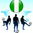 Nigeria Flag Icon on Internet Button with Soccer Team — Stock Vector