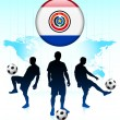 Paraguay Flag Icon on Internet Button with Soccer Team — Stock Vector