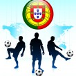 Portugal Flag Icon on Internet Button with Soccer Team — Stock Vector