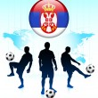 Serbia Flag Icon on Internet Button with Soccer Team — Stock Vector #6509646
