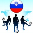 Slovenia Flag Icon on Internet Button with Soccer Team — Stock Vector #6509648