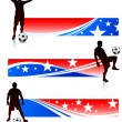 Soccer Players with Patriotic Banners — Stock Vector