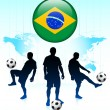 Royalty-Free Stock Vector Image: Brazil Flag Icon on Internet Button with Soccer Team