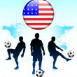 United States Flag Icon on Internet Button with Soccer Team — Stock Vector