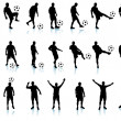 Soccer(football player) detailed silhouette set - Stok Vektr