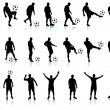 Soccer(football player) detailed silhouette set - Stock Vector