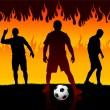 Soccer(Football Player) on Hell Fire Background — Stock Vector #6509701
