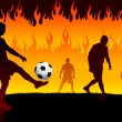 Soccer(Football Player) on Hell Fire Background — Stock Vector #6509705