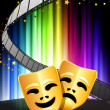 ������, ������: Comedy and Tragedy Masks on Abstract Spectrum Background