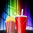 Popcorn and Soda on Abstract Spectrum Background — Stock Vector