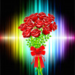Roses on Abstract Frame Background - Image vectorielle