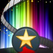 Star Button on Abstract Spectrum Background  — Vettoriali Stock