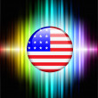Stock Vector: USA Flag Icon Button on Abstract Spectrum Background