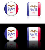 Iowa Flag Icon on Internet Button — Vettoriale Stock
