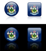 Maine Flag Icon on Internet Button — Stock Vector