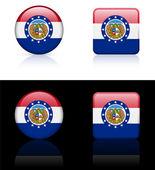 Missouri Flag Icon on Internet Button — Stock Vector