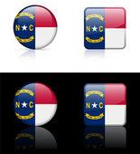 Icono bandera de carolina del norte en botón de internet — Vector de stock